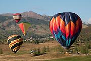 Hot air balloons soar at the Snowmass Balloon Festival, Colorado