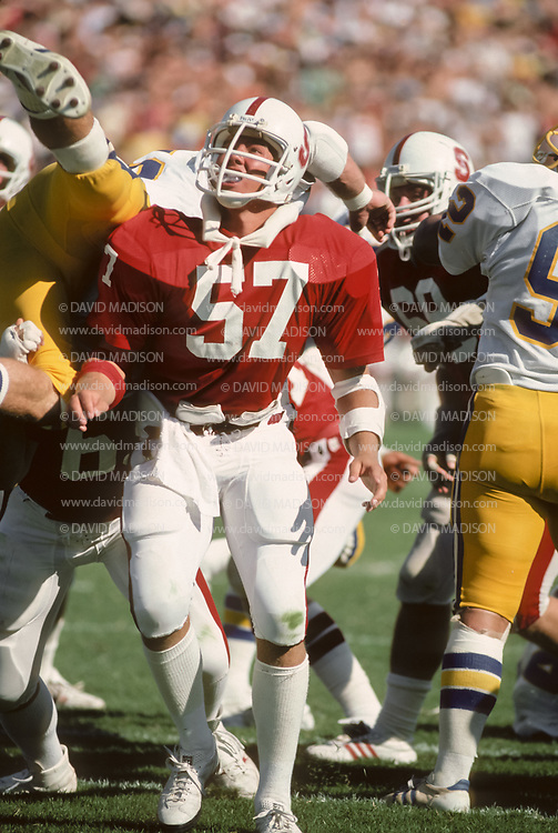 COLLEGE FOOTBALL:  Stanford vs San Jose State on October 4, 1980 at Stanford Stadium in Palo Alto, California.  Mike Teeuws #57.  Photograph by David Madison ( www.davidmadison.com ).