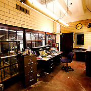 Maintenance office area in sub-basement of historic Power and Light Building skyscraper in downtown Kansas City, MO.