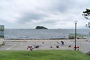 excercising at Umikaze park, Yokosuka with Tokyo Bay and Sarushima Island