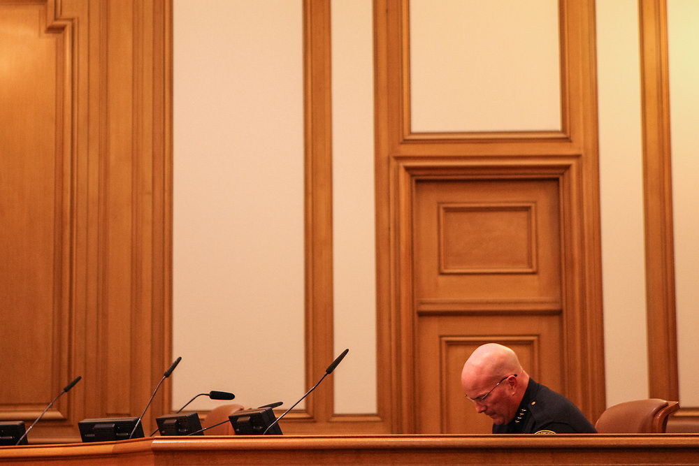 SFPD Police Chief Greg Suhr attends a Police Commission meeting at City Hall in San Francisco, Calif., Wed., May 11, 2016.<br /> <br /> The meeting occurred after a protest inside City Hall on May 6th resulted in building damage and 33 arrests, and the release of a report from the District Attorney's Blue Ribbon Panel on May 9th which found police bias and lack of oversight within San Francisco's police department.<br /> <br /> Chief Suhr was forced to resign following the fatal officer-involved shooting of Jessica Williams, 27, on May 19, 2016.