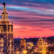 Plaza Lights - Country Club Plaza lit up for the Christmas/holiday season, Kansas City, Missouri. Giralda Tower Close-up.