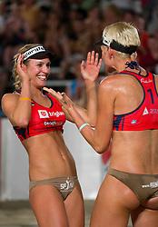 Andreja Vodeb (R) and Simona Fabjan during women final match of Slovenian National Championship in beach volleyball Kranj 2012, on June 30, 2012 in Kranj, Slovenia. (Photo by Vid Ponikvar / Sportida.com)