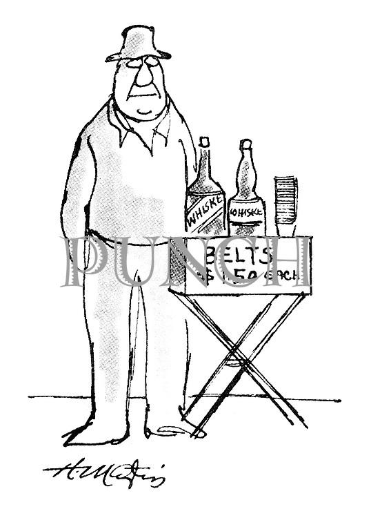(Man selling belts of whiskey on a street corner)