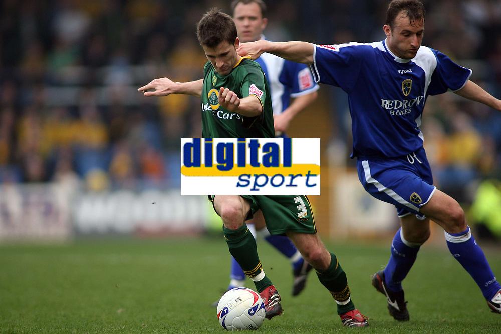 Norwich City captain Adam Drury breaks out of defence