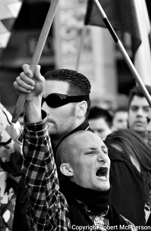 """In March 2012 right-wing extremists group called """"64 Counties Movement"""" attended a liberals demonstration to create fear and provoke in Budapest. They greeted the liberals by calling them dirty jews and to hell with Trianon. These were members who broke into the national tv station in 2006 and created riots on the streets of Budapest for several weeks.<br /> <br /> An old member of """"64 Counties Movement"""" Gyòrgy Budahàzy who for the moment is under house arrest after being in jail for 2,5 years held a speech to his supporters during this demonstration. He is still under court trial with charges of terrorism. One of the charges is trying to kill several politicians in Hungary. He is also charged for trying to set up a terrorist organization similar to IRA."""