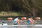 Caversham. Berkshire. UK<br /> Men's pair, Calum IRVINE and Rufus SCHOLEFIELD,  competing at the 2016 GBRowing U23 Trials at the GBRowing Training base near Reading, Berkshire.<br /> <br /> Monday  11/04/2016 <br /> <br /> [Mandatory Credit; Peter SPURRIER/Intersport-images]