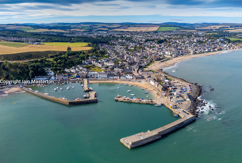 Aerial view from drone of seafront beach and harbour at Stonehaven in Aberdeenshire, Scotland, UK