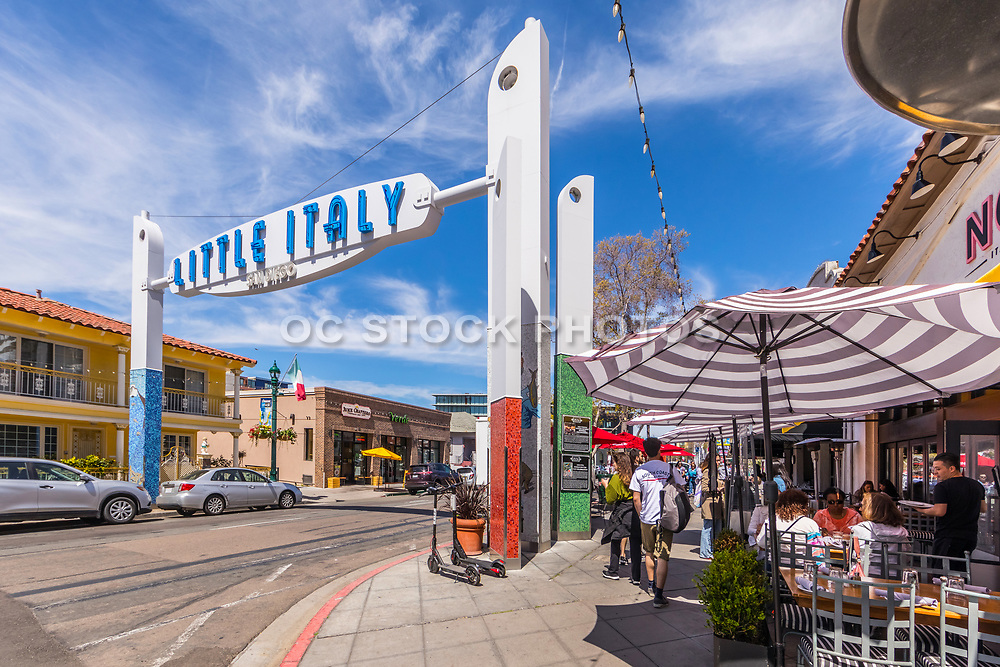 People Dining Outside in Little Italy San Diego
