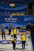 """Glasgow. SCOTLAND. Last """"Stone in the  """"Round Robin"""" Game Sweden vs Italy . Le Gruyère European Curling Championships. 2016 Venue, Braehead  Scotland<br /> Monday  21/11/2016<br /> <br /> [Mandatory Credit; Peter Spurrier/Intersport-images]"""