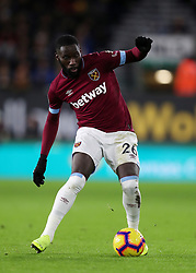"""West Ham United's Arthur Masuaku during the Premier League match at Molineux, Wolverhampton. PRESS ASSOCIATION Photo. Picture date: Tuesday January 29, 2019. See PA story SOCCER Wolves. Photo credit should read: David Davies/PA Wire. RESTRICTIONS: EDITORIAL USE ONLY No use with unauthorised audio, video, data, fixture lists, club/league logos or """"live"""" services. Online in-match use limited to 120 images, no video emulation. No use in betting, games or single club/league/player publications."""
