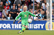 Oxford United goalkeeper (on loan from Derby County) Jonathan Mitchell (41) kicks out during the EFL Sky Bet League 1 match between Wycombe Wanderers and Oxford United at Adams Park, High Wycombe, England on 15 September 2018.