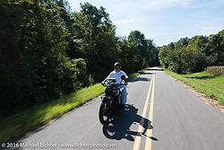 Rick Salisbury riding his 1927 Henderson during Stage 5 of the Motorcycle Cannonball Cross-Country Endurance Run, which on this day ran from Clarksville, TN to Cape Girardeau, MO., USA. Tuesday, September 9, 2014.  Photography ©2014 Michael Lichter.