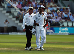 July 6, 2017 - London, United Kingdom - Umpire having words with Kagiso Rabada of South Africa .during 1st Investec Test Match between England and South Africa at Lord's Cricket Ground in London on July 06, 2017  (Credit Image: © Kieran Galvin/NurPhoto via ZUMA Press)