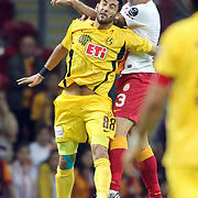 Galatasaray's Cristiano Marques Gomes (R) and Eskisehirspor's Veysel Sari (L) during their Turkish Super League soccer match Galatasaray between Eskisehirspor at the TT Arena at Seyrantepe in Istanbul Turkey on Saturday, 06 October 2012. Photo by TURKPIX