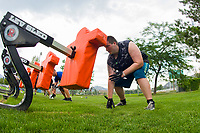 KELOWNA, CANADA - JULY 17:  Brendan Hansen, running back of the Okanagan Sun prepares for a drill during day 1 of training camp on July 17, 2018 at the Apple Bowl in Kelowna, British Columbia, Canada.  (Photo by Marissa Baecker/Shoot the Breeze)  *** Local Caption ***