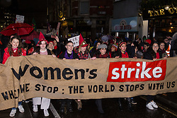 London, UK. 8th March, 2019. Thousands of women and feminists of all genders march in solidarity with millions of women and non-binary people across the world fighting for a feminist future during the International Women's Strike on International Women's Day. They marched from an assembly opposite the Bank of England to Leicester Square to join up with a Sex Workers' Strike.