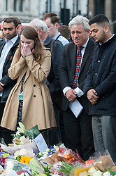 © Licensed to London News Pictures. 17/06/2016. London, UK. John Bercow, Speaker of the House of Commons, is amongst the wellwishers, mourners and members of the public attending an evening vigil in Parliament Square for Jo Cox, Labour MP for Batley and Spen, who was murdered the previous day whilst en route to her constituency surgery. Photo credit : Stephen Chung/LNP