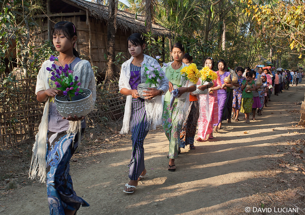 Locals, mainly young ladies, during Shinbyu ceremony in Graw Raw Ma Ni Village.