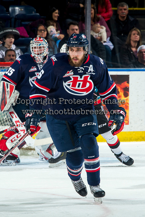 KELOWNA, BC - MARCH 7: Ty Prefontaine #6 of the Lethbridge Hurricanes skates against the Kelowna Rockets at Prospera Place on March 7, 2020 in Kelowna, Canada. (Photo by Marissa Baecker/Shoot the Breeze)