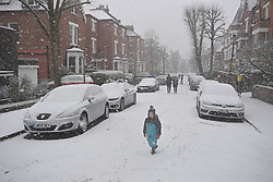 © Licensed to London News Pictures. 24/01/2021. London, UK. Heavy Snowfall at Hampstead in north London. Parts of the UK continue to suffer from flooding caused by Storm Christoph. Photo credit: Ben Cawthra/LNP