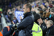 Everton Manager Roberto Martinez looks on prior to kick off. Capital one cup semi final 1st leg match, Everton v Manchester city at Goodison Park in Liverpool on Wednesday 6th January 2016.<br /> pic by Chris Stading, Andrew Orchard sports photography.