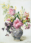 A Vase of Flowers'. Watercolour: Madeleine Jeanne Lamaire (1845-1928) French flower painter and illustrator.  Pink roses, mimosa, violets and carnations in a ceramic vase.