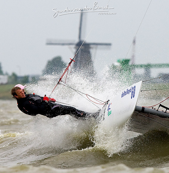 08_004297 © Sander van der Borch. Medemblik - The Netherlands,  May 25th 2008 . Sebbe Godefroid and Carolijn Brouwer sailing just after the finish of the medal race of the Delta Lloyd Regatta 2008.