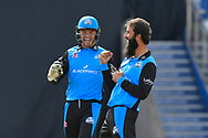 Wicket - Moeen Ali of Worcestershire celebrates taking the wicket of Jos Buttler of Lancashire during the Vitality T20 Finals Day Semi Final 2018 match between Worcestershire Rapids and Lancashire Lightning at Edgbaston, Birmingham, United Kingdom on 15 September 2018.