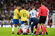 England (10) Ruben Loftus-Cheek, Brazil (10) Neymar during the International Friendly match between England and Brazil at Wembley Stadium, London, England on 14 November 2017. Photo by Sebastian Frej.