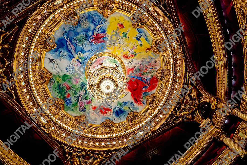 Chagall's Opéra Garnier Ceiling and Palais Garnier Chandelier. Interior decoration and architecture.  Paris, France may 14, 2019.