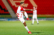 Doncaster Rovers forward Mallik Wilks (7), on loan from Leeds United has a shot during the EFL Sky Bet League 1 match between Doncaster Rovers and Southend United at the Keepmoat Stadium, Doncaster, England on 12 February 2019.