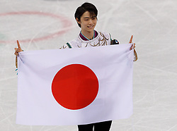 February 17, 2018 - Gangneung, South Korea - Ice Skaters winner Yuzuru Hanyu of Japan, gold medal hold  flag in the Men's Figure Skating at the PyeongChang 2018 Winter Olympic Games at Gangneung Ice Arena on Saturday February 17, 2018. (Credit Image: © Paul Kitagaki Jr. via ZUMA Wire)