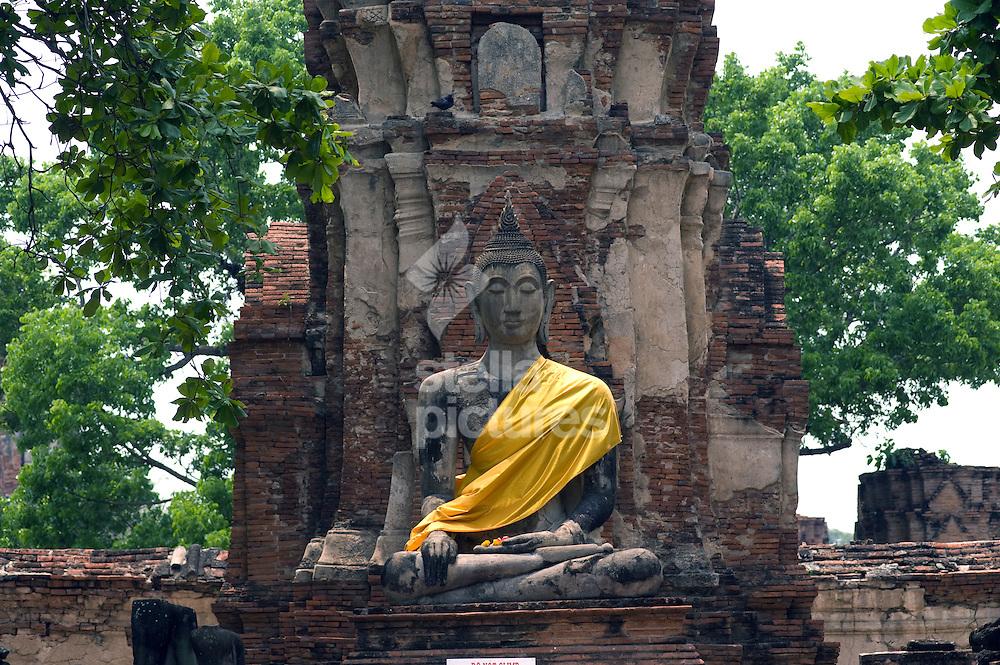 Picture by Daniel Hambury. .9/4/11..A large Buddha image at Wat Phra Mahathat in Ayutthaya,Thailand..