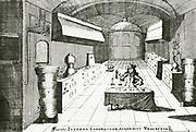 'Interior of a chemical laboratory at Utrecht.n From ''Pyrosophia ...'', Leyden, 1698, by Johann Konrad Barchusen.'