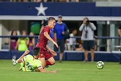 July 31, 2018 - Arlington, TX, U.S. - ARLINGTON, TX - JULY 31: FC Barcelona defender Juan Brandariz ''Chumi'' (16) fouls AS Roma forward Patrik Schick (14) in the box during the International Champions Cup between FC Barcelona and AS Roma on July 31, 2018 at AT&T Stadium in Arlington, TX.  (Photo by Andrew Dieb/Icon Sportswire) (Credit Image: © Andrew Dieb/Icon SMI via ZUMA Press)