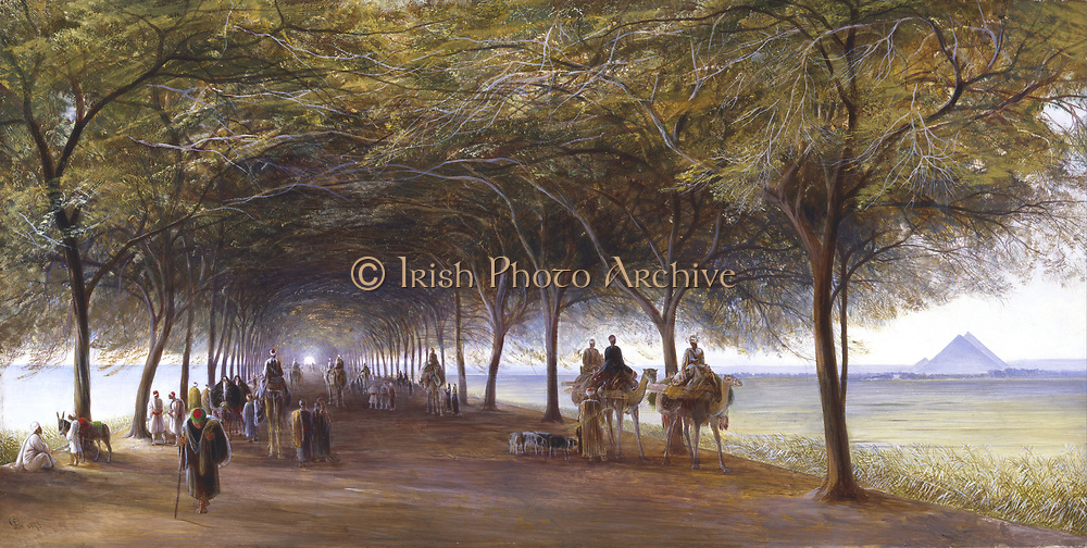 'The Road to the Pyramids at Gizeh'. The road passes through a tunnel of shade between an avenue of trees. Some travellers are on camels,  others on donkeys, while others are on foot. Edward Lear (1812-1888) English artist, traveller and humourist, 1873.  Oil on canvas. Private collection.