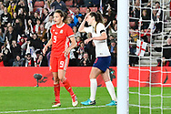 Abbie McManus (6) of England holds her head after missing a chance during the FIFA Women's World Cup UEFA Qualifier match between England Ladies and Wales Women at the St Mary's Stadium, Southampton, England on 6 April 2018. Picture by Graham Hunt.