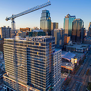 Downtown Kansas City, Missouri's Two Light Tower residential construction nearing exterior completion in October 2017.