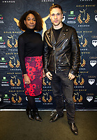Karen Bryson, William Moseley at the Press Conference for the Gold Movie Awards, announcing nominees for the awards to held on 9th January. Regent St Theatre London. 13.12.19