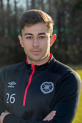 Marcus Godinho (#26) of Heart of Midlothian during the Heart of Midlothian press conference ahead of the match against Motherwell, at Oriam Sports Performance Centre, Edinburgh, Scotland on 15 February 2019.