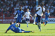 Arvin Appiah of England skips past Nicol Armini of Italy (5) during the UEFA European Under 17 Championship 2018 match between England and Italy at the Banks's Stadium, Walsall, England on 7 May 2018. Picture by Mick Haynes.