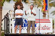 12 JUNE 2010 - PHOENIX, AZ: Former US Congressman Tom Tancredo (R-CO), an opponent of undocumented immigration, speaks at a rally in support of Arizona's anti-immigrant law, SB 1070, during a rally in Phoenix Saturday. About 500 people, many from California and Florida, came to Bolin Memorial Park in Phoenix Saturday. The pro SB 1070 rally was sponsored by Tea Party.   PHOTO BY JACK KURTZ