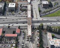 Sound Transit East Link train bridge under construction over I-405.