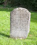 Headstone grave of Hannah Twynnoy killed by a tiger in 1703, Malmesbury, Wiltshire, England, UK