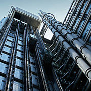 Lloyds building exterior facade elevators, London, England (September 2007)