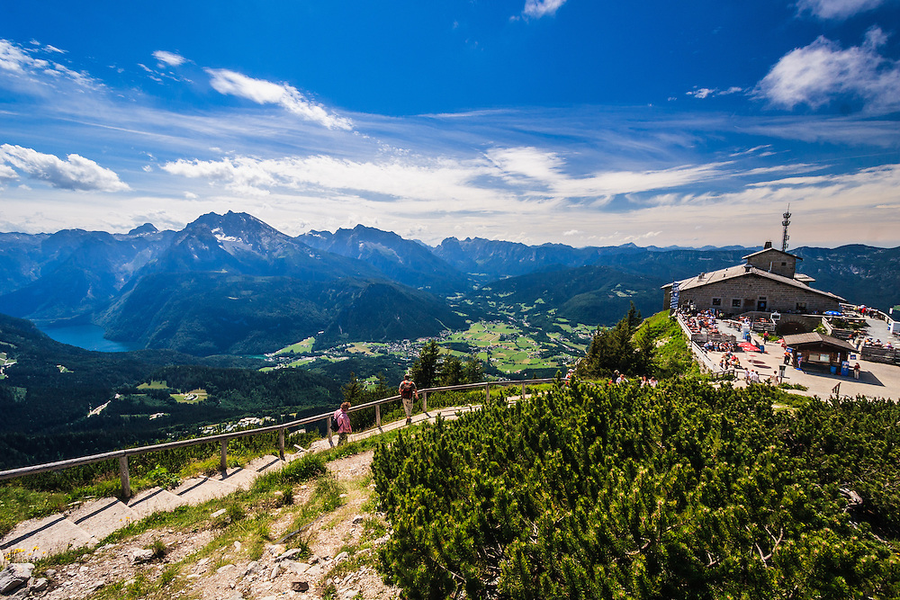 Hitler's Kehlsteinhaus in Obersalzberg, Germany.  A popular tourist destination, Hitler's Kehlsteinhaus, perches at the summit of the Kehlstein mountain in the Bavarian Alps in Obersalzberg, Germany.