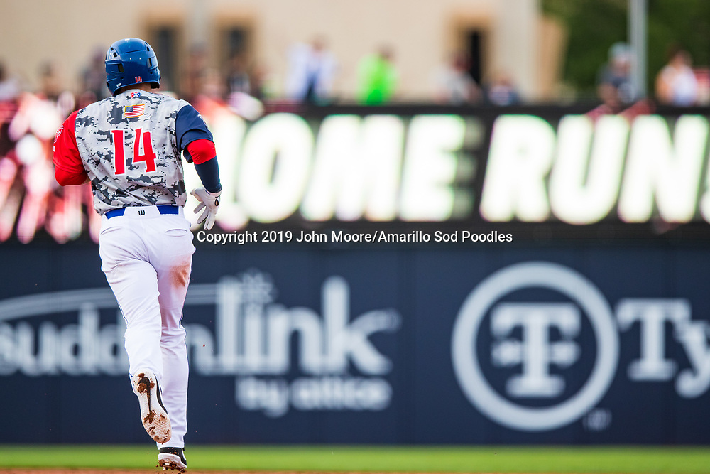 Amarillo Sod Poodles infielder Owen Miller (14) rounds the bases after hitting a home run against the Frisco Rough Riders on Monday, June 3, 2019, at HODGETOWN in Amarillo, Texas. [Photo by John Moore/Amarillo Sod Poodles]