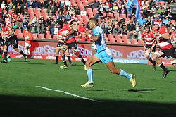 14-07-18 Johannesburg. Emirates Airlines Park. Emirates Lions vs Vodacom Blue Bulls.<br /> 1st half. Manie Libbok on his way to the try line after a breakaway from his own half<br /> Picture: Karen Sandison/African News Agency (ANA)