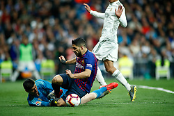 March 2, 2019 - Madrid, MADRID, SPAIN - Luis Suarez of FC Barcelona and Thibaut Courtois of Real Madrid during the spanish league, La Liga, football match played between Real Madrid and FC Barcelona at Santiago Bernabeu Stadium in Madrid, Spain, on March 02, 2019. (Credit Image: © AFP7 via ZUMA Wire)